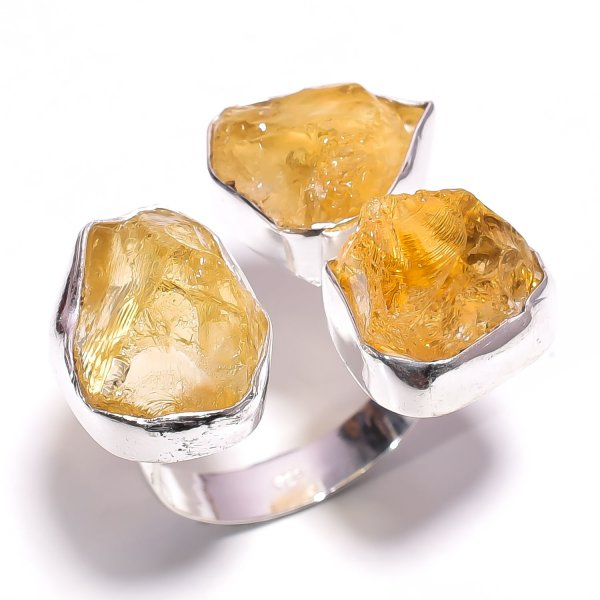 Citrine Raw Gemstone 925 Sterling Silver Ring Size US 8.25 Adjustable
