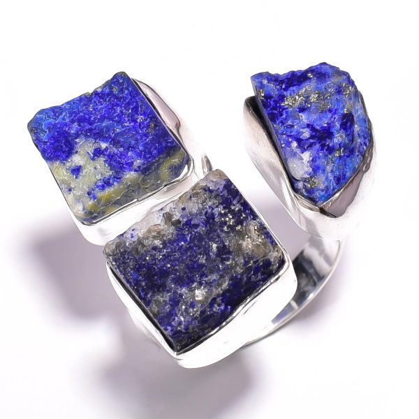 Lapis Raw Gemstone 925 Sterling Silver Ring Size US 7.25 Adjustable