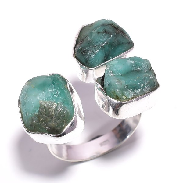 Emerald Raw Gemstone 925 Sterling Silver Ring Size US 9.25 Adjustable