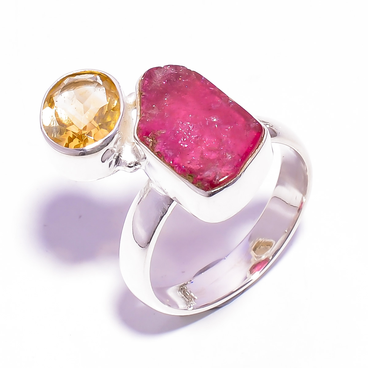Raw Pink Tourmaline, Citrine Gemstone 925 Sterling Silver Ring Size US 8
