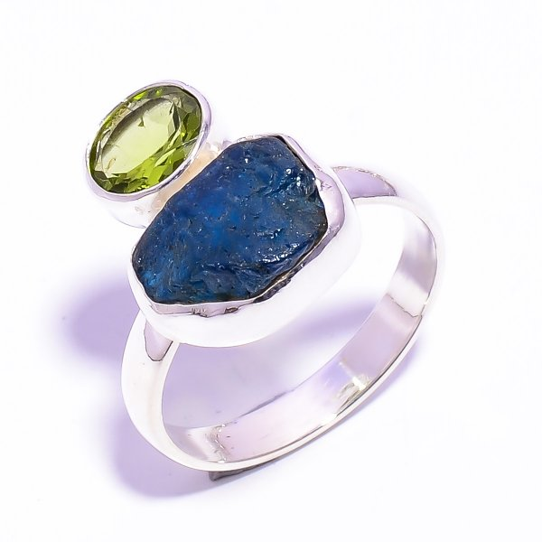 Raw Neon Apatite Peridot Gemstone 925 Sterling Silver Ring Size US 9.25