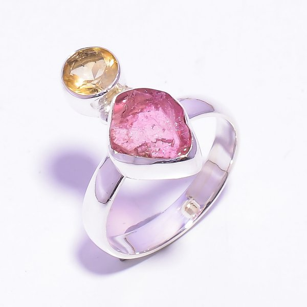 Raw Pink Tourmaline, Citrine Gemstone 925 Sterling Silver Ring Size US 7.75