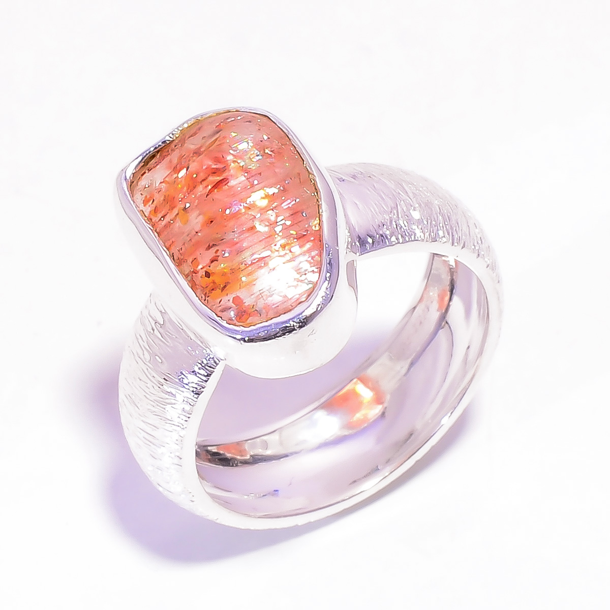 Natural Sunstone Raw 925 Sterling Silver Ring Size US 7
