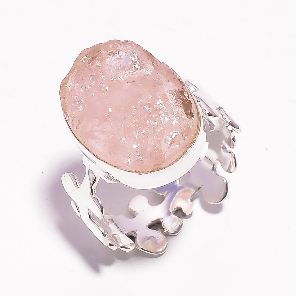 Rose Quartz Raw Gemstone 925 Sterling Silver Ring Size US 8