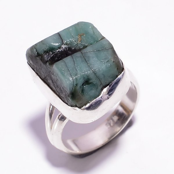 Raw Emerald Gemstone 925 Sterling Silver Ring Size US 6