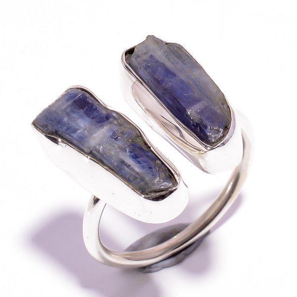 Blue Kyanite Raw Gemstone 925 Sterling Silver Ring Size US 9 Adjustable