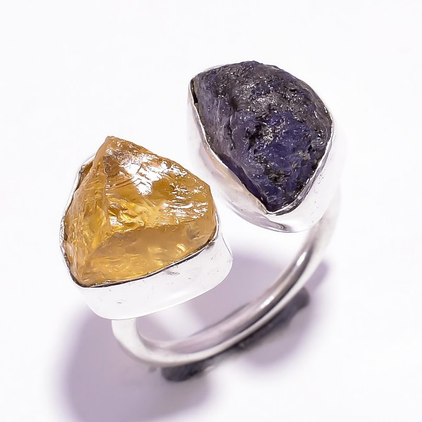 Tanzanite Citrine Raw Gemstone 925 Sterling Silver Ring Size US 5 Adjustable