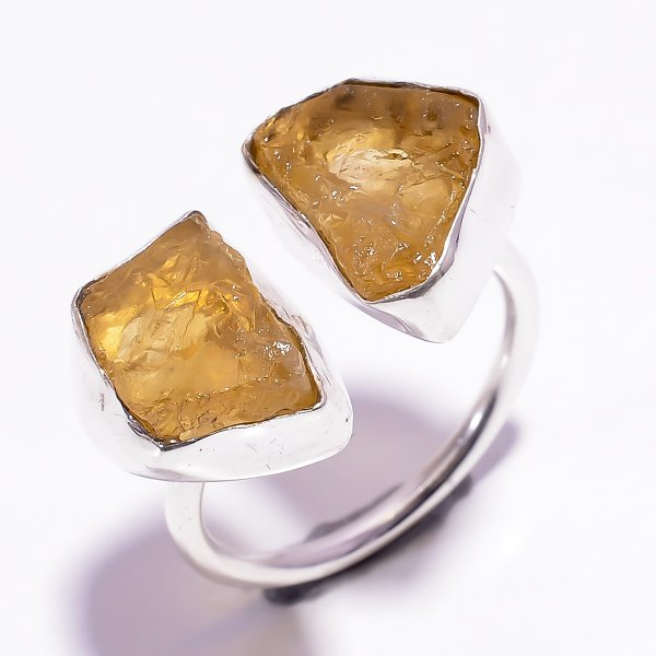 Citrine Raw Gemstone 925 Sterling Silver Ring Size US 9.75 Adjustable