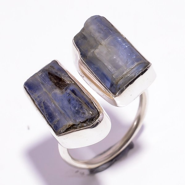 Blue Kyanite Raw Gemstone 925 Sterling Silver Ring Size US 8.75 Adjustable