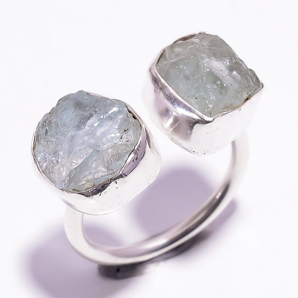 Aquamarine Raw Gemstone 925 Sterling Silver Ring Size US 7.5 Adjustable
