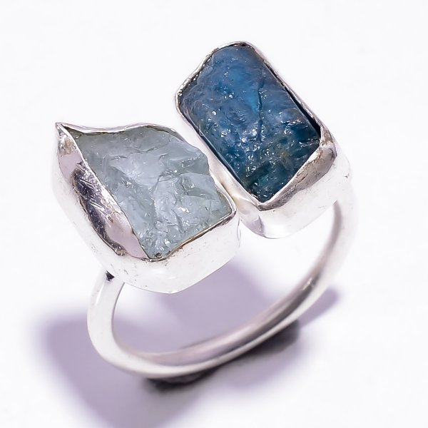Neon Apatite Aquamarine Raw Gemstone 925 Sterling Silver Ring Size US 7.5 Adjustable