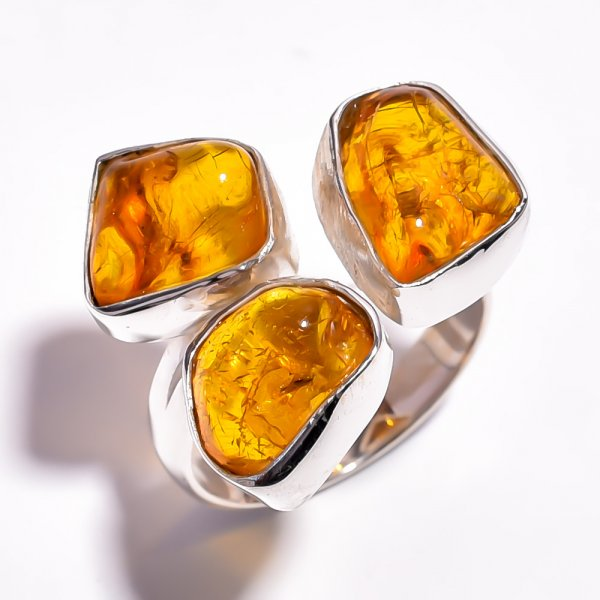 Amber Raw Gemstone 925 Sterling Silver Adjustable Ring