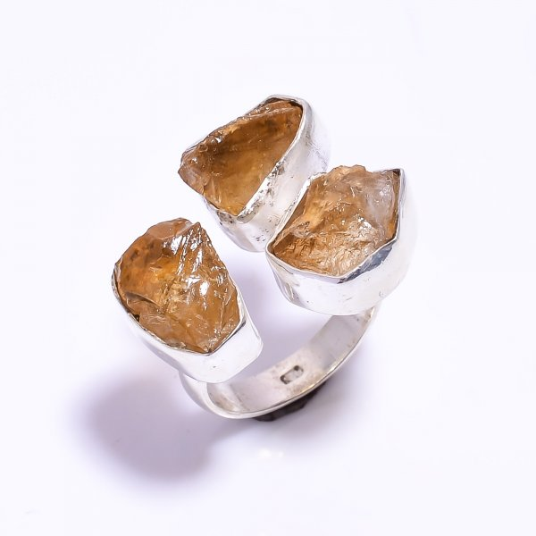 Citrine Raw Gemstone 925 Sterling Silver Ring Size US 7.5 Adjustable