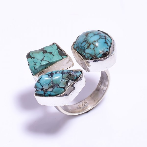 Turquoise Raw Gemstone 925 Sterling Silver Ring Size US 7.25 Adjustable