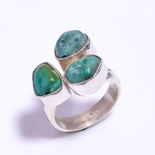 Turquoise Raw Gemstone 925 Sterling Silver Ring Size US 6.75 Adjustable