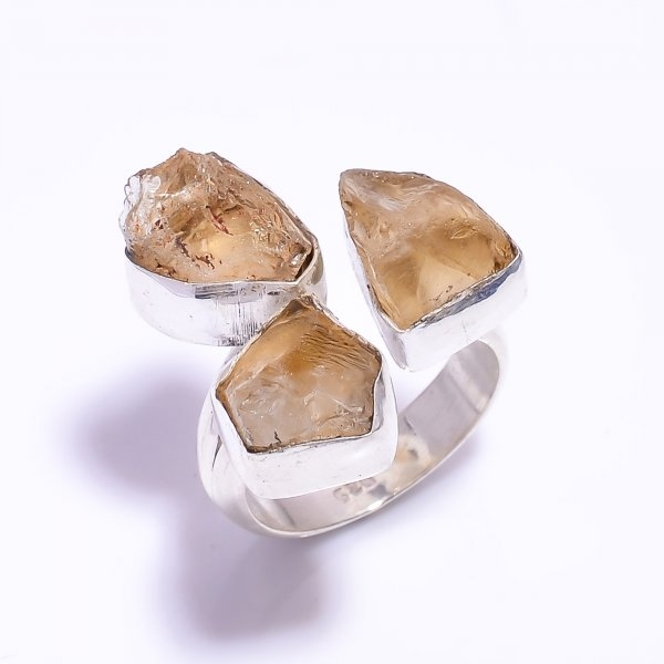 Citrine Raw Gemstone 925 Sterling Silver Ring Size US 7 Adjustable