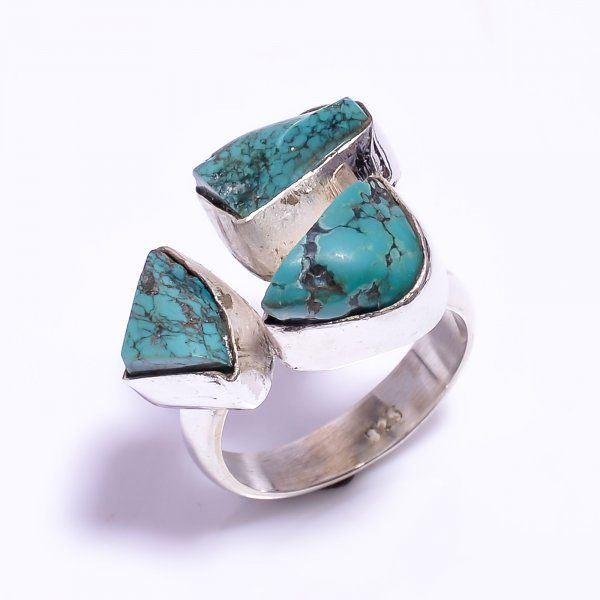 Turquoise Raw Gemstone 925 Sterling Silver Ring Size US 9 Adjustable