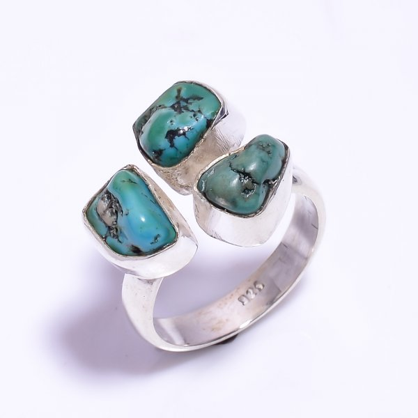 Turquoise Raw Gemstone 925 Sterling Silver Ring Size US 9.25 Adjustable