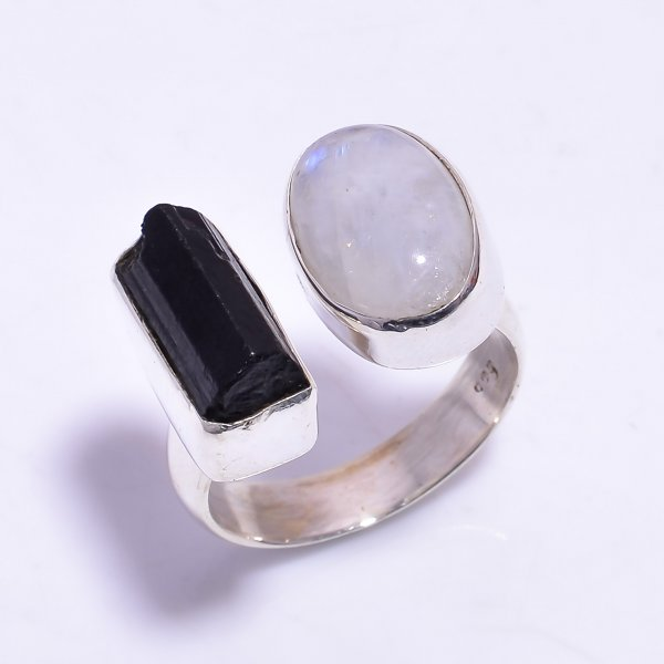 Black Tourmaline Raw Gemstone 925 Sterling Silver Ring Size US 9.75 Adjustable