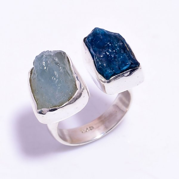 Aquamarine Neon Apatite Raw Gemstone 925 Sterling Silver Ring Size US 6.75 Adjustable