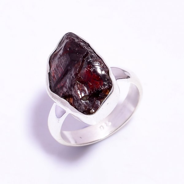 Garnet Raw Gemstone 925 Sterling Silver Ring Size US 9