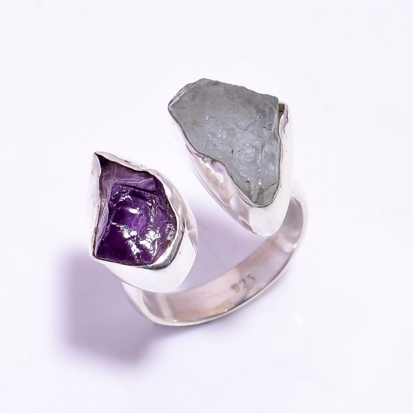 Amethyst Aquamarine Raw Gemstone 925 Sterling Silver Ring Size US 8.25 Adjustable