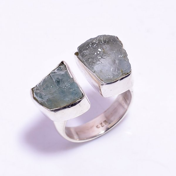 Aquamarine Raw Gemstone 925 Sterling Silver Ring Size US 6.25 Adjustable