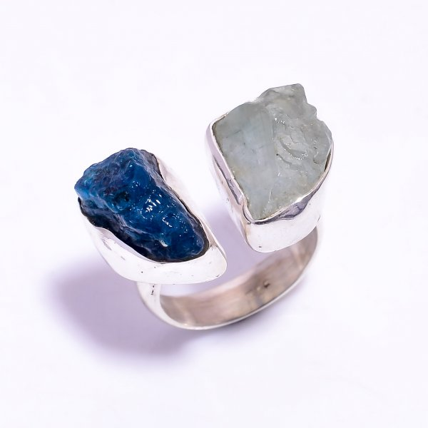 Aquamarine Neon Apatite Raw Gemstone 925 Sterling Silver Ring Size US 7.25 Adjustable