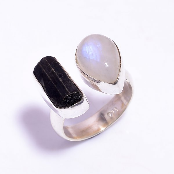 Black Tourmaline Raw Gemstone 925 Sterling Silver Ring Size US 8.25 Adjustable