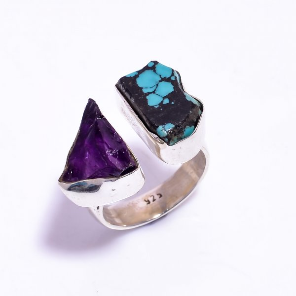 Amethyst Turquoise Raw Gemstone 925 Sterling Silver Ring Size US 7 Adjustable