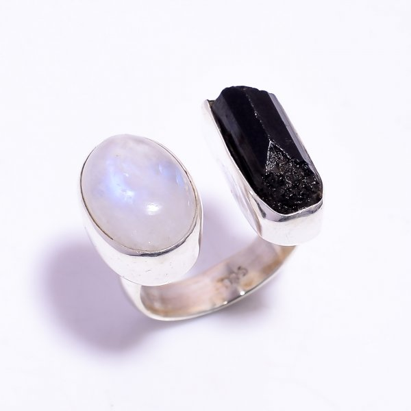 Black Tourmaline Raw Gemstone 925 Sterling Silver Ring Size US 6.5 Adjustable