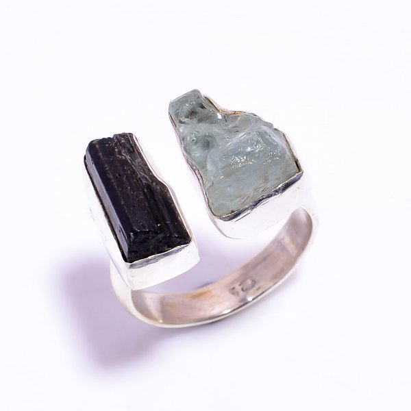 Aquamarine Black Tourmaline Raw Gemstone 925 Sterling Silver Ring Size US 9.25 Adjustable