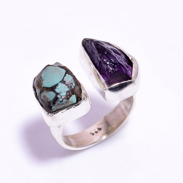 Amethyst Turquoise Raw Gemstone 925 Sterling Silver Ring Size US 9 Adjustable