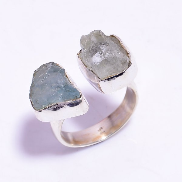 Aquamarine Raw Gemstone 925 Sterling Silver Ring Size US 8.25 Adjustable