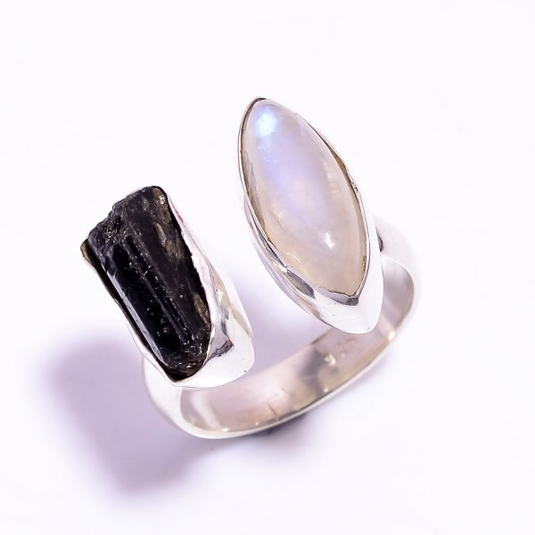Black Tourmaline Raw Gemstone 925 Sterling Silver Ring Size US 8.75 Adjustable