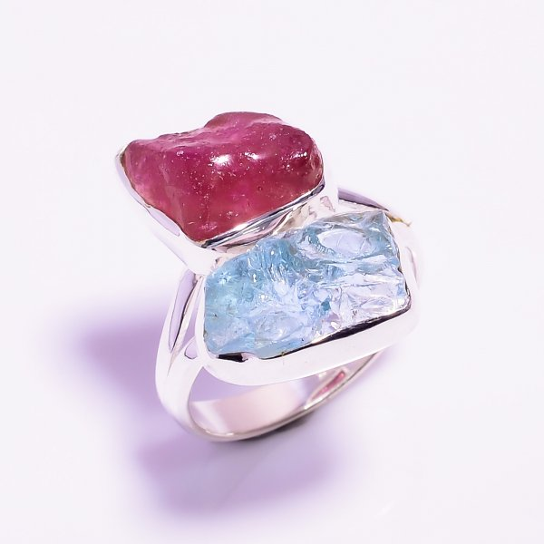 Aquamarine Ruby Raw Gemstone 925 Sterling Silver Ring Size US 8.25