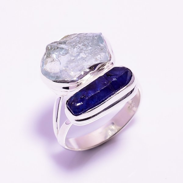 Aquamarine Sapphire Raw Gemstone 925 Sterling Silver Ring