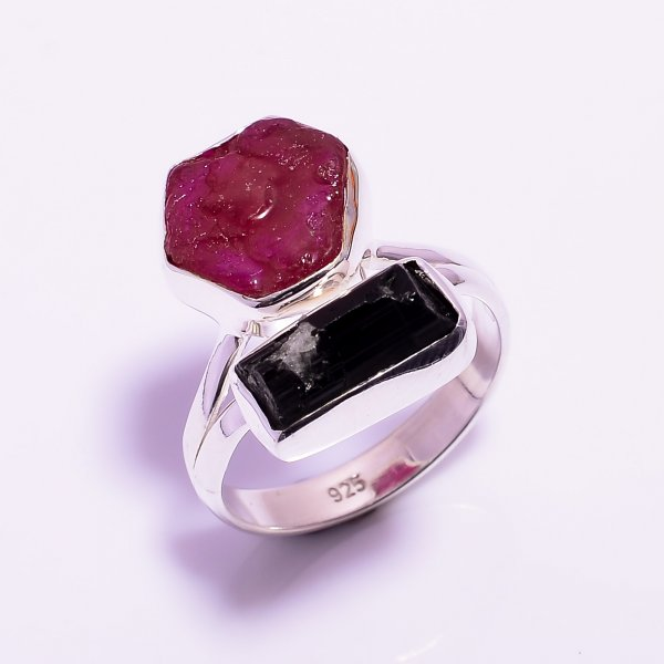 Black Tourmaline Ruby Raw Gemstone 925 Sterling Silver Ring Size US 8