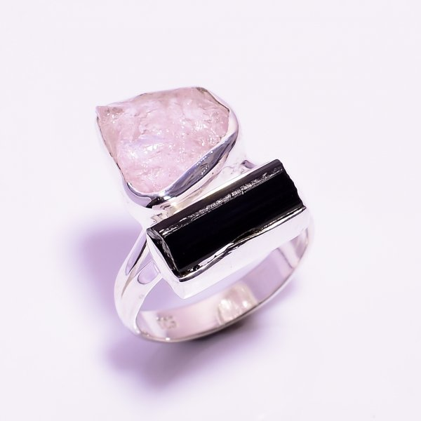 Black Tourmaline Kunzite Raw Gemstone 925 Sterling Silver Ring
