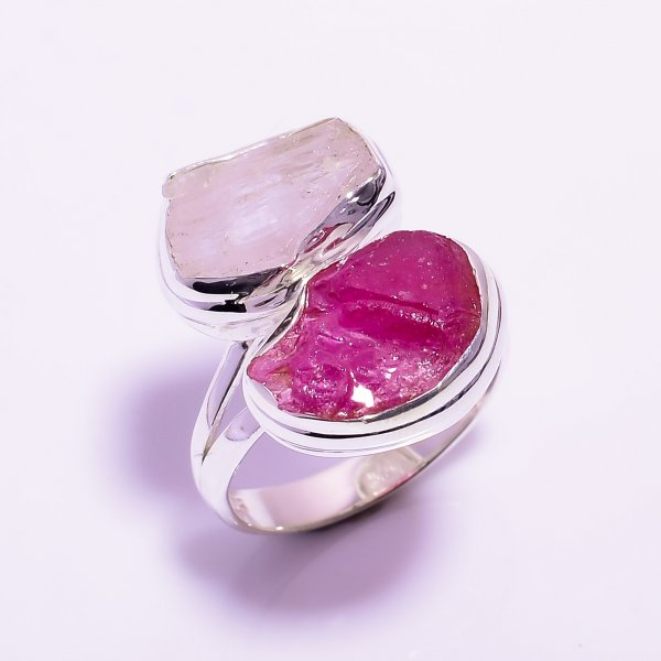 Kunzite Ruby Raw Gemstone 925 Sterling Silver Ring