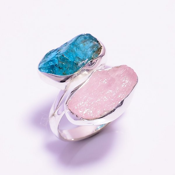 Morganite Sky Apatite Raw Gemstone 925 Sterling Silver Ring