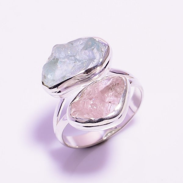 Aquamarine, Morganite Raw Gemstone 925 Sterling Silver Ring