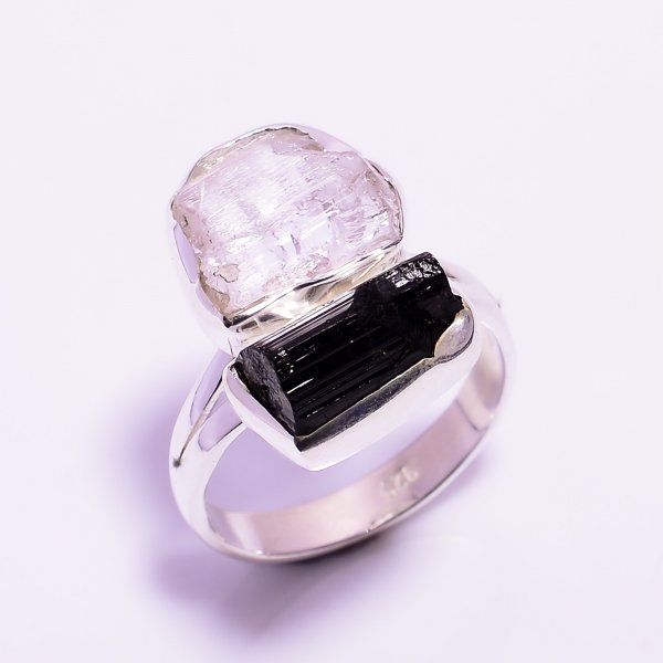 Black Tourmaline, Kunzite Raw Gemstone 925 Sterling Silver Ring