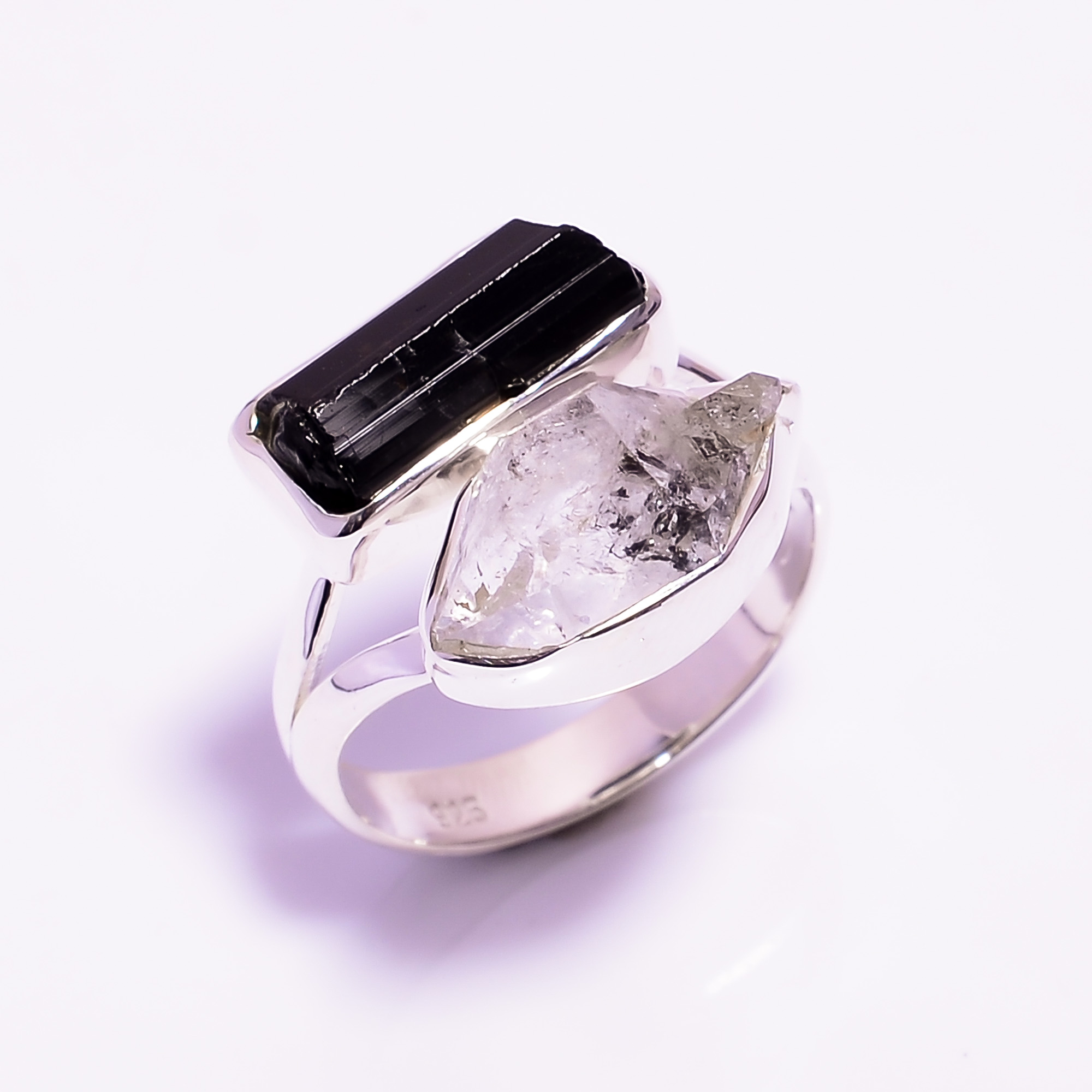 Herkimer Diamond Black Tourmaline Raw Gemstone 925 Sterling Silver Ring Size US 6.75