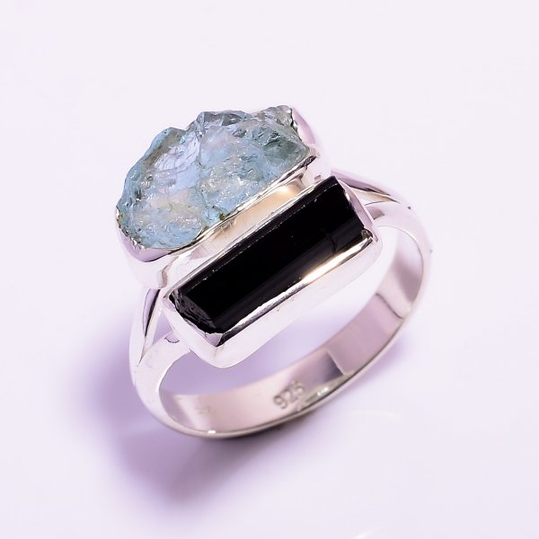 Aquamarine, Black Tourmaline Raw Gemstone 925 Sterling Silver Ring Size US 9.25