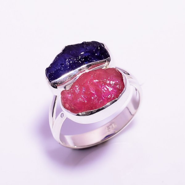 Sapphire, Ruby Raw Gemstone 925 Sterling Silver Ring