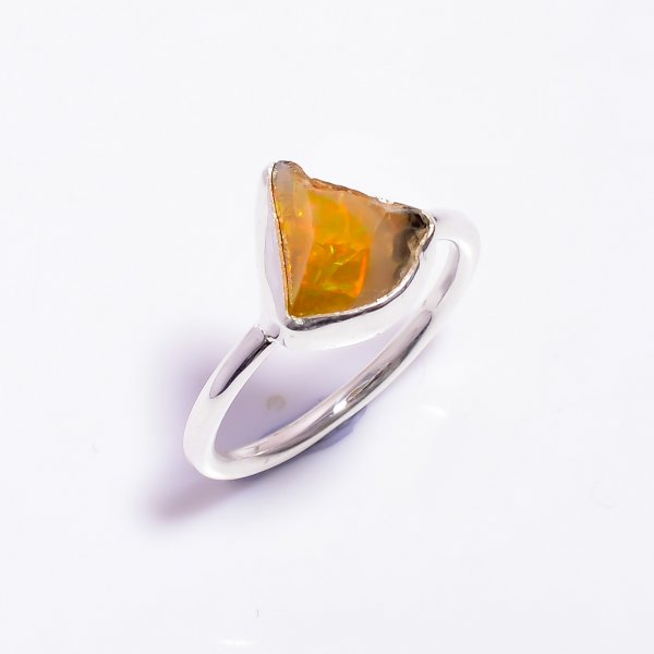Ethiopian Opal Raw Gemstone 925 Sterling Silver Ring Size US 9.25