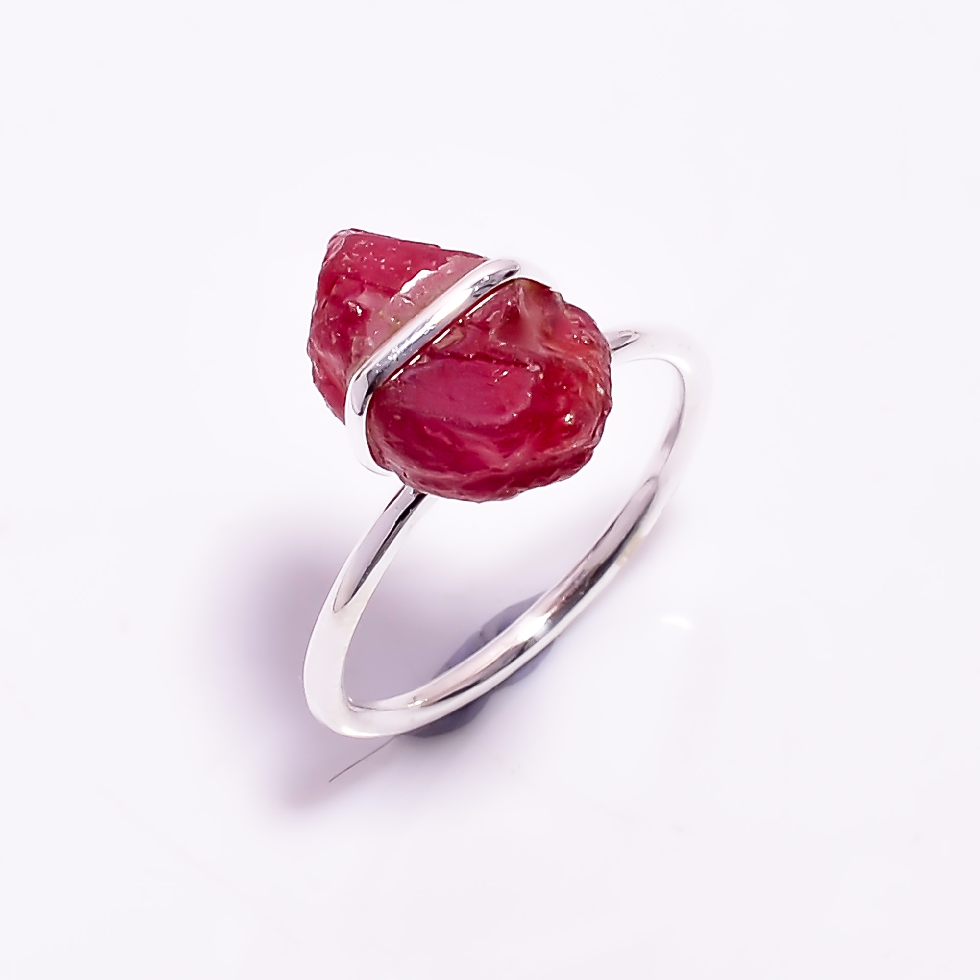 Ruby Raw Gemstone 925 Sterling Silver Ring Size US 7.25