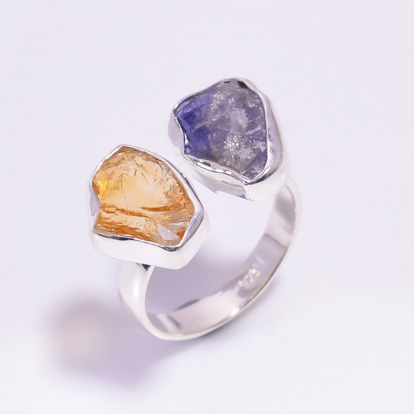 Tanzanite Citrine Raw Gemstone 925 Sterling Silver Ring Size US 8 Adjustable