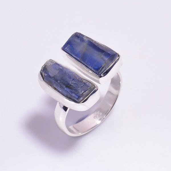 Blue Kyanite Raw Gemstone 925 Sterling Silver Ring Size US 7.5 Adjustable